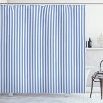 """Lunarable Pinstripe Shower Curtain, Nautical Concept Sailor Style Blue and White Simple Minimalist Stripes, Cloth Fabric Bathroom Decor Set with Hooks, 75"""" Long, Azure Blue and White"""