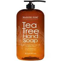 Majestic Pure Tea Tree Hand Soap - Liquid Hand Wash with Pure Aloe Vera, Rosemary & Spearmint - Hand Wash with Pump - Sulfate Free Formula -16 fl oz