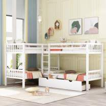P PURLOVE Twin Over Twin Bunk Bed L-Shaped Bunk Bed with Drawer Twin Size Wood Bed Frame for Kids/Teens, No Box Spring Needed