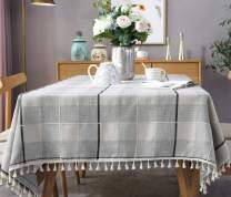 fiercewolf Linen Rectangle Tablecloth Tassel Table Cloth Heavy Weight Cotton Fabric Dust-Proof Table Cover Kitchen Dinning, Rectangle/Oblong, 55 x 78 Inch, Gray White