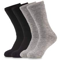 Hot Feet Women's 4 Pairs Heavy Thermal Socks - Thick Insulated Crew for Cold Winter Weather; Shoe Size 4-10.5