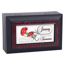 Cottage Garden January Distinction Fascination Garnet Matte Black Jewelry Music Box Plays How Great Thou Art