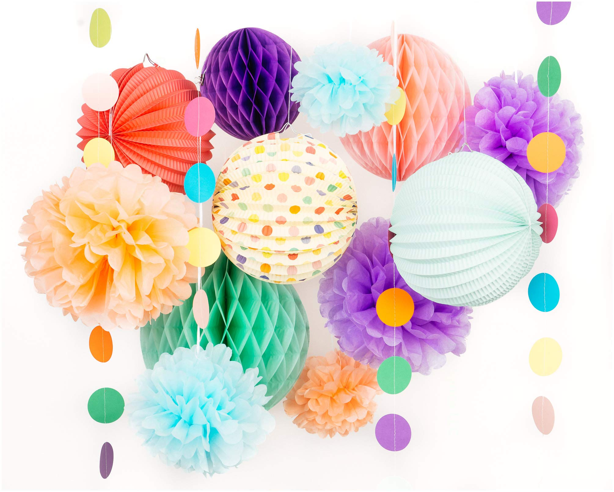 PapaKit Premium Paper Decoration Set - Pom Pom, Honeycomb and Accordion Lantern (Festive Colors) Birthday Party Baby Shower Bride to Be Engagement Wedding Events