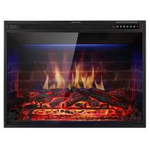 "Xbeauty 33"" Electric Fireplace Insert Recessed in Wall Freestanding Heater w/Large Screen Multicolor Flames,Adjustable Flame Speed,Remote Control,750w/1500w,Black"