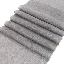 ARKSU Gray Burlap Table Runner 12 x 120 Inch Imitated Linen Wrinkle-Free for Wedding/Bridal Party/Rustic Event