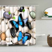 COLORPAPA Natural Decorative Shower Curtain Two Blue Butterfly on The White and Black Cobblestone with Green Leaves Waterproof Polyester Fabric Bath Curtain with 12pcs Hooks