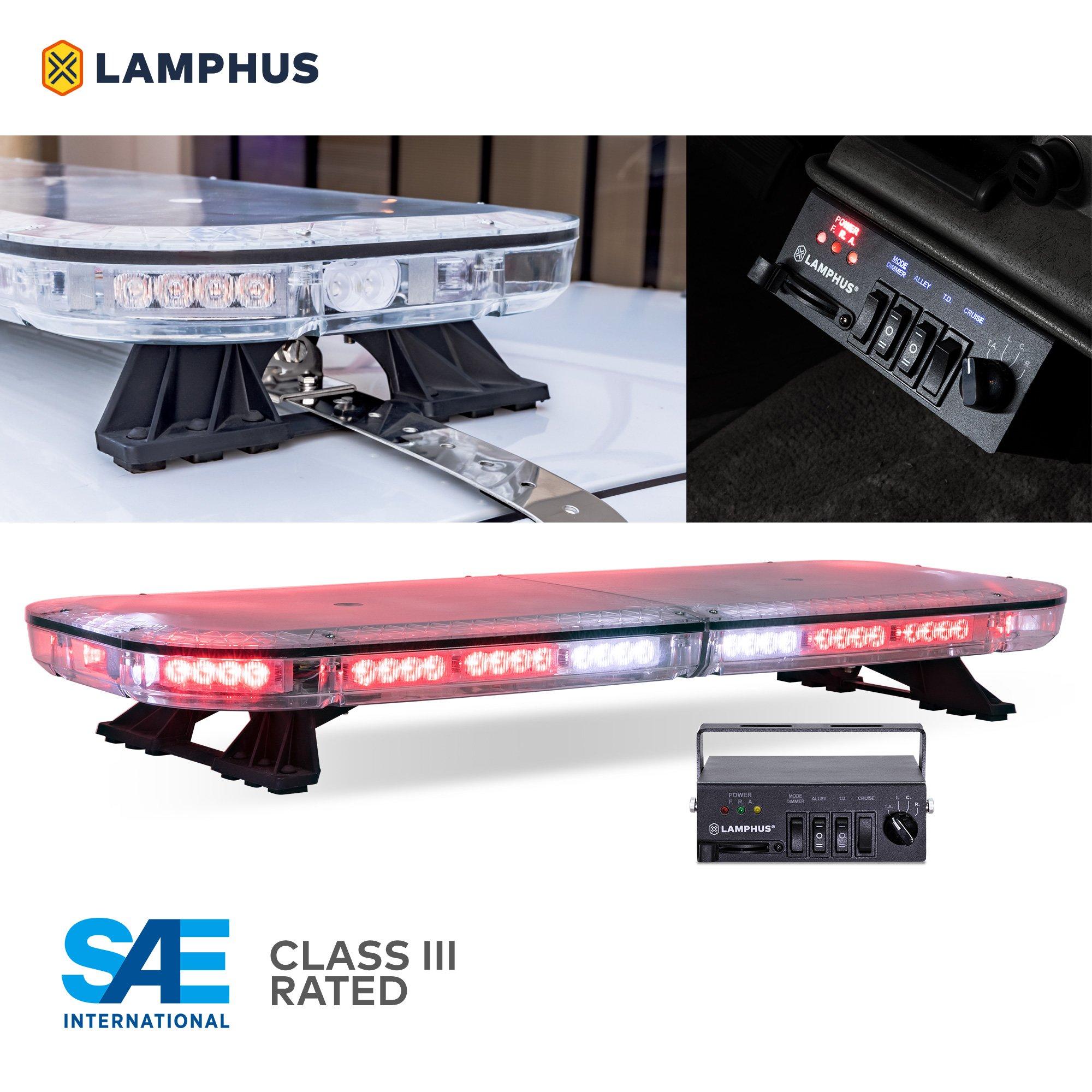 "SolarBlast SBFB82 37"" 82W RED LED Emergency Full-Size Light Bar [SAE J595 Class III] [58 Flash Mode] [Controller Box] [Gutter Bracket] Blue Rooftop Strobe Warning Light Bar For Volunteer Firefighter"