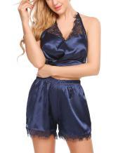 ELOVER Women Lingerie Satin Pajamas Set Lace Strap Camisole Shorts Set Sleepwear