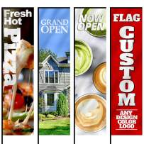Anley Custom Rectangle Feather Flag 2 X 6 Ft Double Sided - Print Your Own Logo/Design/Words - Indoor & Outdoor Commercial Advertising Banners Flags (Include Flagpole + Cross Base + Water Bag)