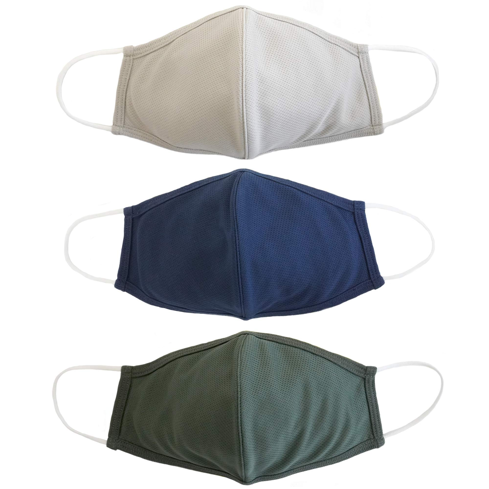 EnerPlex Kids 3-Ply Face Cloth Mask - Comfortable Breathable Safety Mask, Machine Washable Masks, Reusable Masks for Children ages 3-9 Kids (3-Pack) - Cool Naturals