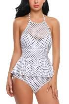 ADOME Women's Peplum Tankini Set Ruffles Halter Tankini Set Push Up Bathing Suit Swimsuits