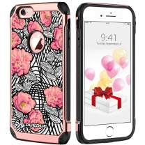 DUEDUE iPhone 6/6S Case, Flowers Floral Pattern Printed Hybrid Hard PC Cover with Soft TPU Bumper Full Protective Case for iPhone 6S/iPhone 6 for Women Girls, Rose Gold/Flower