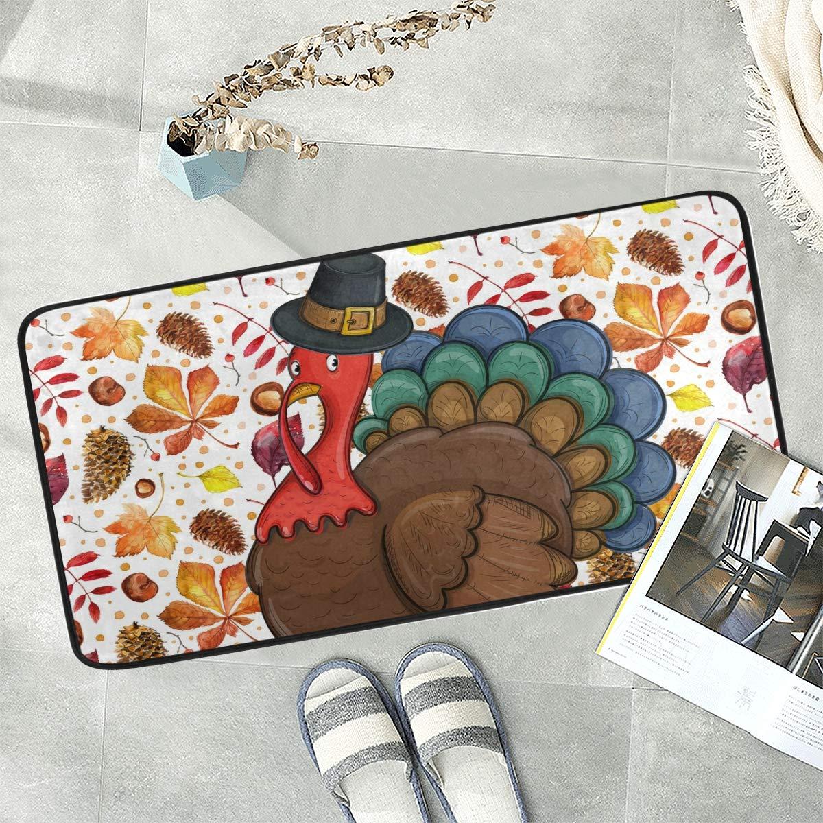 Naanle Thanksgiving Anti Fatigue Kitchen Floor Mat, Watercolor Turkey Maple Non Slip Absorbent Comfort Standing Mat Kitchen Runner Rug for Hallway Entryway Bathroom Living Room Bedroom 39 x 20 Inches