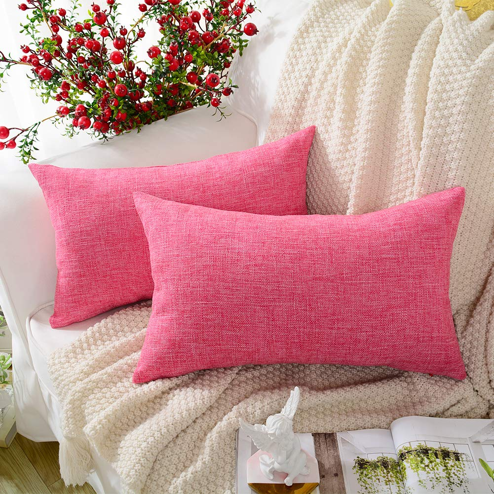 MERNETTE New Year/Christmas Decorations Cotton Linen Blend Decorative Rectangle Throw Pillow Cover Cushion Covers Pillowcase, Home Decor for Party/Xmas 12x20 Inch/30x50 cm, Rose Red, Set of 2