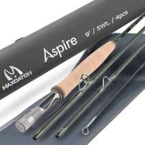 M MAXIMUMCATCH Aspire - Fly Fishing Rod 40T Carbon Fiber, Anodized Reel Seat, 4-Piece, 5/6/8 wt