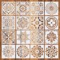 iSuperb 16 Pcs Painting Stencils Reusable Painting Templates Mandala Drawing Stencils for Floor Wall Tile Fabric Scrapbook DIY Decor 6x6 inch (White)