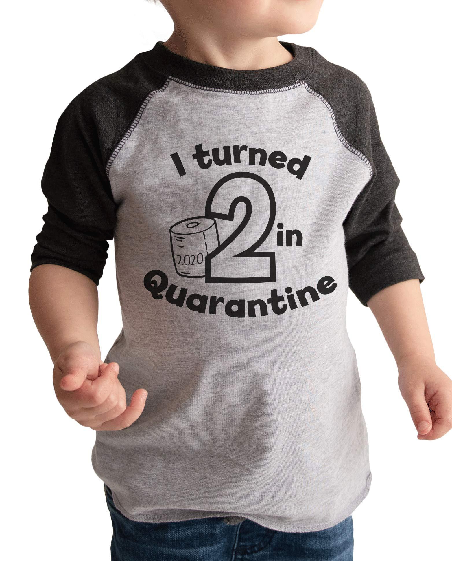 7 ate 9 Apparel Kids Two Birthday Quarantine Grey Baseball Tee
