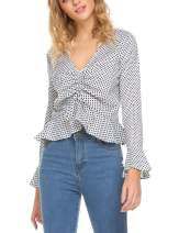 Meaneor Women's Ruched Front Polka Dot Top V-Neck Long Sleeve Blouse Ruffle Vintage Shirt