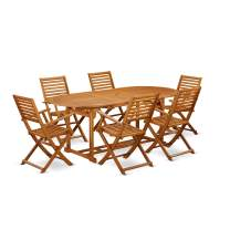This 7 Piece Acacia Hardwood Outdoor patio Dining Sets offers an outdoor table and Six chairs
