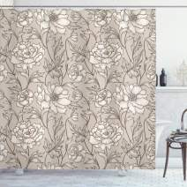 """Ambesonne Aster Shower Curtain, Earth Tones Flower Petals Autumn Classic Flourishing Mother Nature Design, Cloth Fabric Bathroom Decor Set with Hooks, 75"""" Long, Warm Taupe"""