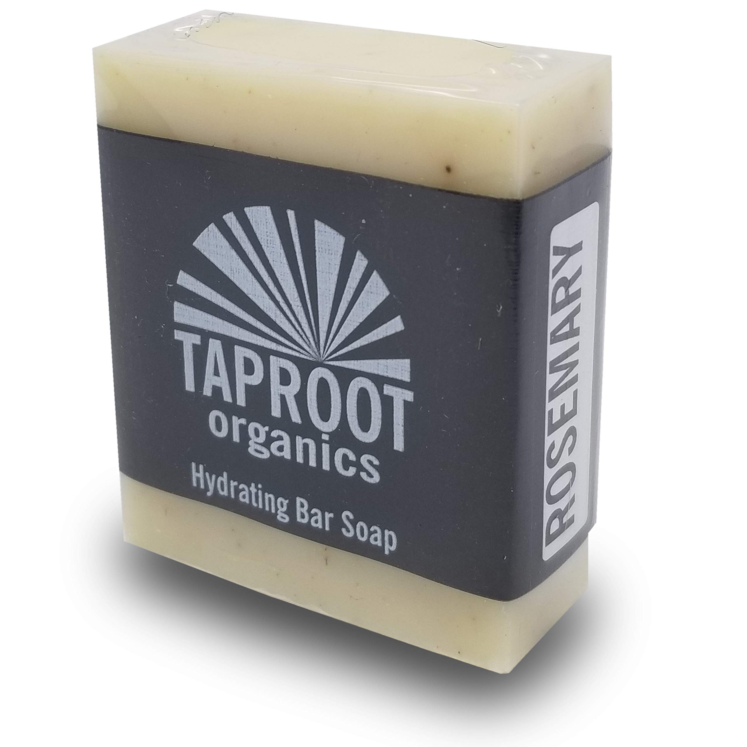 TAPROOT ORGANICS - Rosemary Cold Process Bar Soap for maintaining Healthy Clear Skin for face and body. Culinary Organic Lavender for a mild Biodegradable Scrub for the entire family (Vegan)