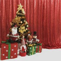 """TRLYC 48 by 108"""" Red Sequin Photo Booth Backdrop Sparkly Wedding And Party Curtain"""