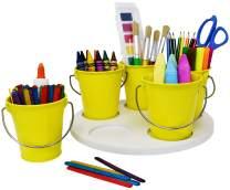 Craft Storage Turntable by Modern Retro - The Lazy Susan Art Craft Organizer Storage Bins - Organizers & Storage Containers for Crafts, Scissors, Kids Crayon Organizer Caddy! (Sunshine Yellow)