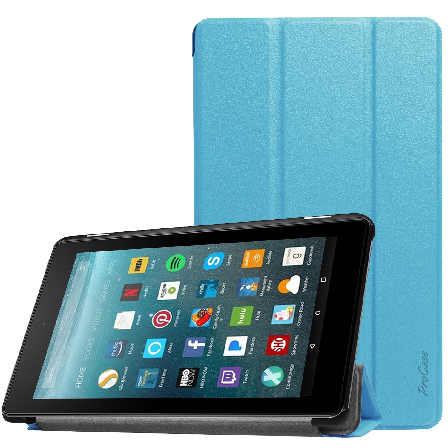 ProCase All-New Fire 7 Case 2017, Slim Stand Hard Shell Case Smart Cover for All-New Fire 7 Tablet(2017 Release) -Blue