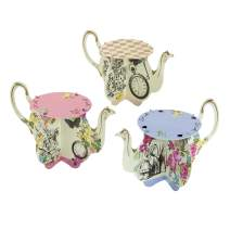 Talking Tables Truly Alice Teapot Cupcake Stands for a Tea Party, Multicolor (6 Pack)
