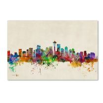 Seattle, Washington by Michael Tompsett, 30 by 47-Inch Canvas Wall Art