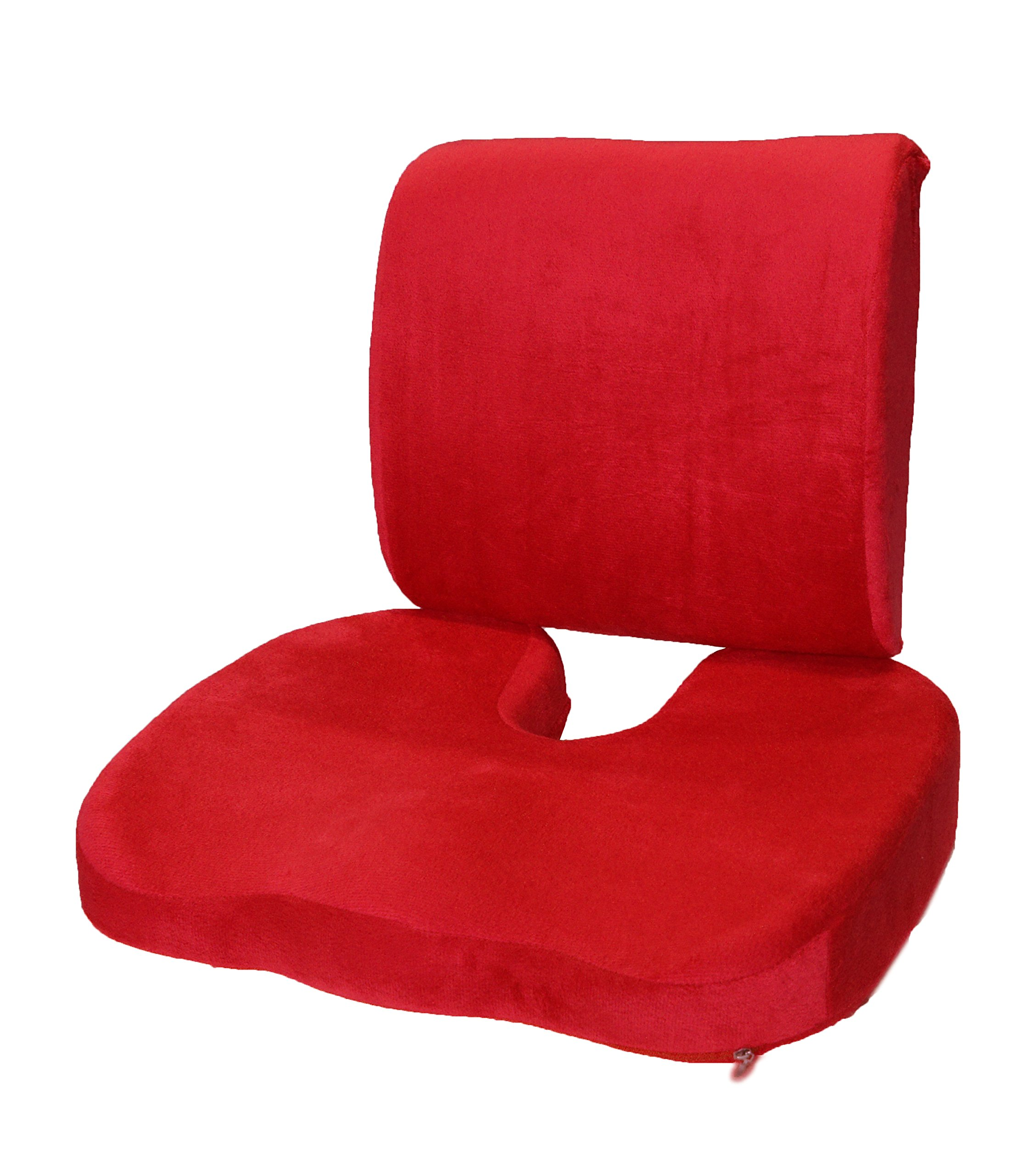 BookishBunny 2pc Memory Foam Seat Chair Waist Lumbar Back Support Cushion Pillow Car Office Home (Red)