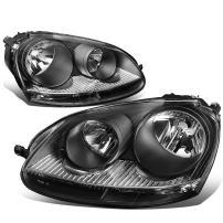 Black Housing Headlights Headlamps Replacement for Volkswagen VW Jetta 05-10 Rabbit 06-09