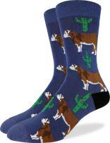 Good Luck Sock Men's Cactus Cow Crew Socks - Blue, Shoe Size 7-12