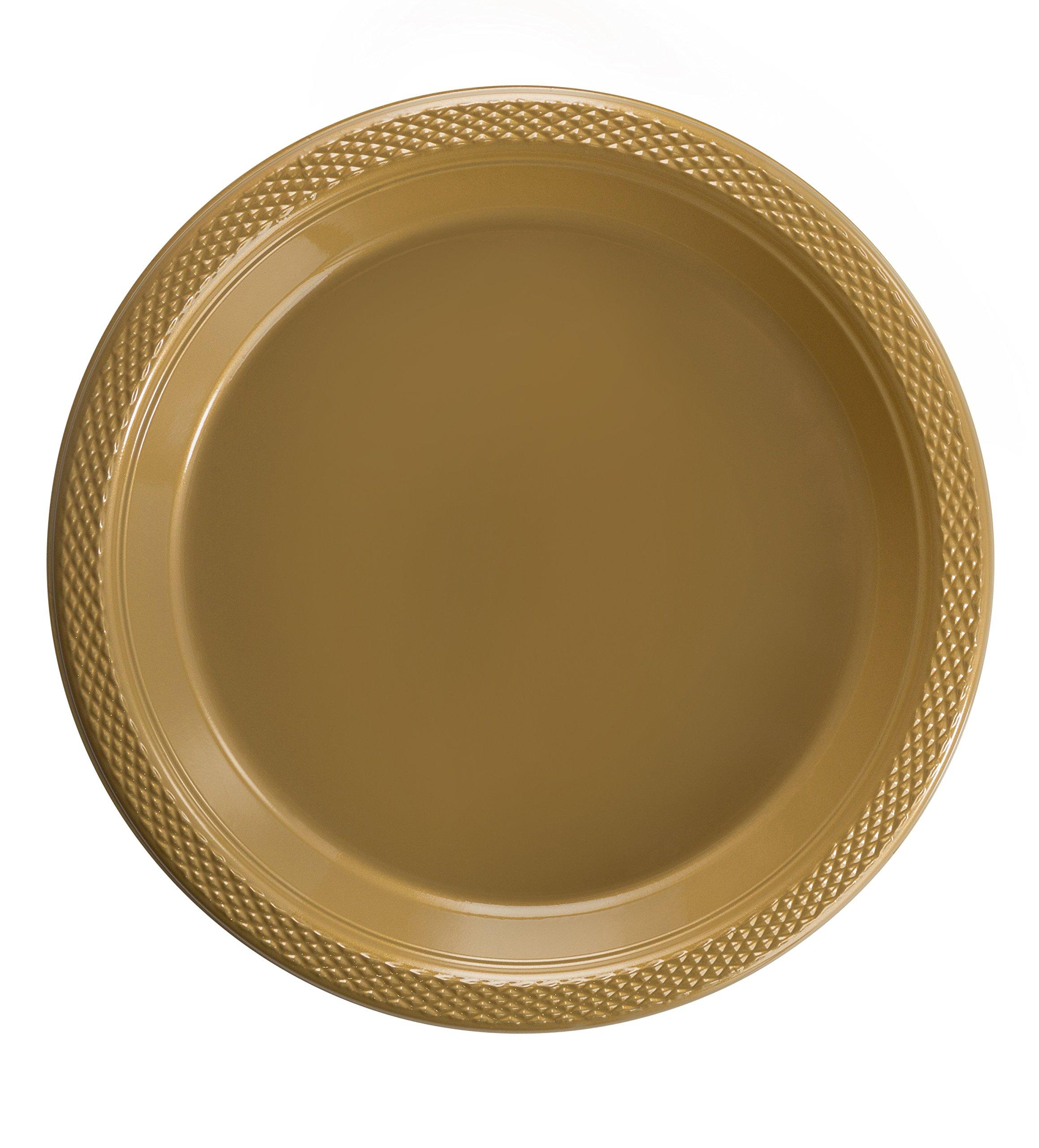 Exquisite Plastic Dessert/Salad Plates - Solid Color Disposable Plates - 100 Count (10 Inch, Gold)