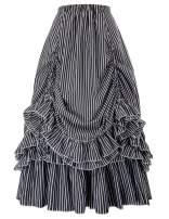 Belle Poque Women Striped Steampunk Skirt Gothic Victorian Ruffled Renaissance Costume