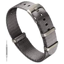 Benchmark Basics Seatbelt NATO Strap - Premium Waterproof Ballistic Nylon Watch Band for Men & Women - Heavy Duty Hardware - Choice of Color & Width - 20mm or 22mm