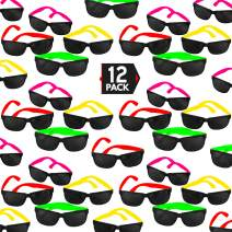 12 Pack 80's Style Neon Party Sunglasses – Fantastic Party Pack Favors, Party Toys For Goody Bags by Big Mo's Toys