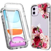 ACKETBOX iPhone 11 Case/iPhone 11 Protective Case with Built-in Screen Protector,Heavy Duty Hard Floral PC Back Case and Bumper+Transparent TPU Full Body Cover for iPhone 11 6.1 Inch(Flowers)
