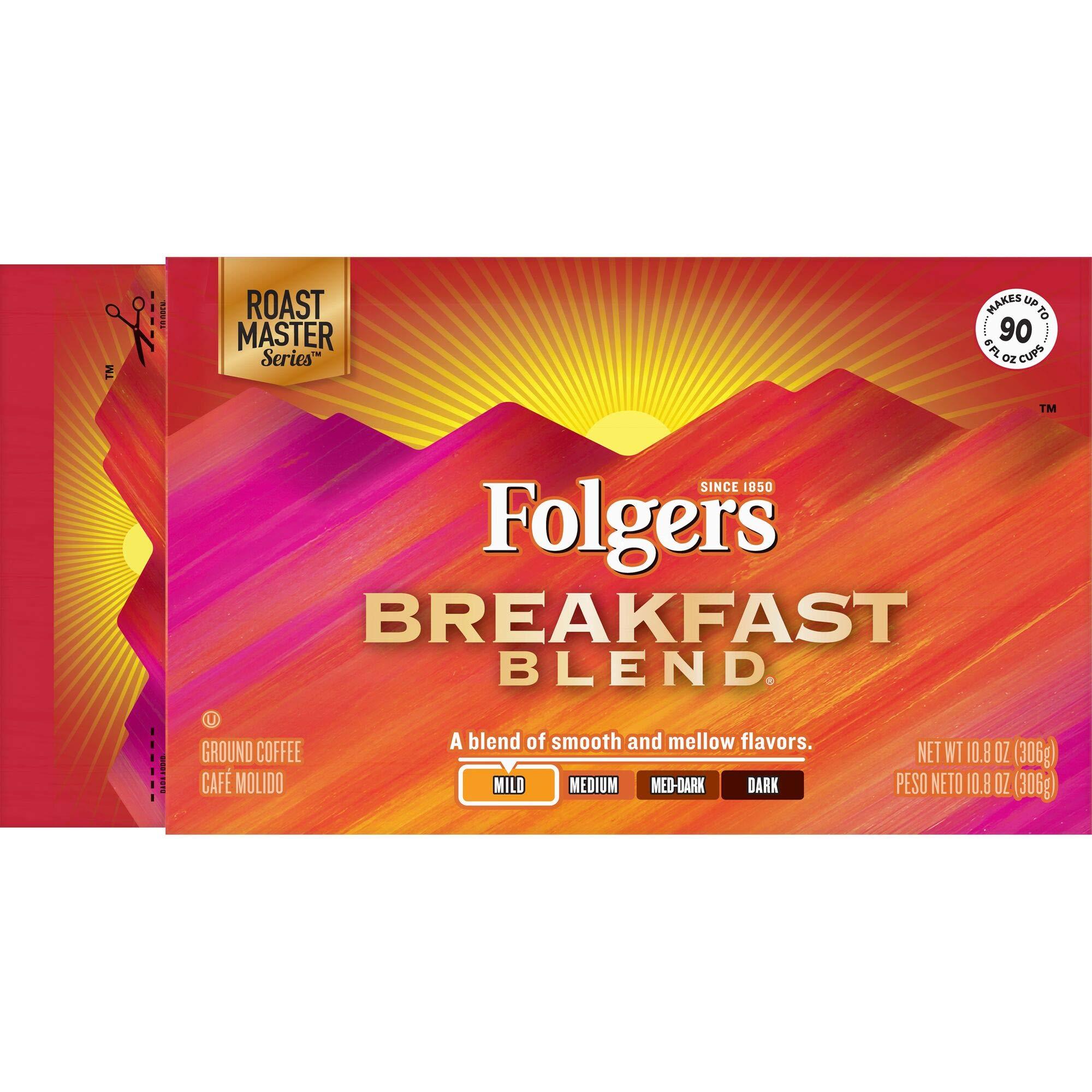 Folgers Breakfast Blend Mild Roast Ground Coffee Brick, 10.8 Ounces (Pack of 12)