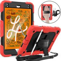 """SEYMAC iPad Mini 5/4 Case, [3-Layer Hybrid Shockproof] Case with Screen Protector 360 Rotating Stand & Hand Strap Shoulder Strap Pencil Holder for 7.9"""" iPad Mini 5th/4th Gen-Red/Black"""