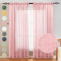 Naturoom Natural Linen Sheer Curtains for Bedroom/Living Room Textured Open Weave Linen Semi Sheer Curtain Drapes Light Filtering, Rod Pocket Window Treatment 2 Panels (52 x 84 Inch, Blush Pink)
