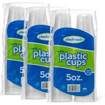 [300 Count] PlastiMade 5 Oz Clear Plastic Disposable Reusable Drinking Cups For Home, Office, Wedding, Events, Parties, Take Out, Water, Juice, Soda, Beer Cocktails (3 Packs)