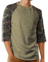 Hat and Beyond Mens Baseball Raglan T Shirts 3/4 Sleeves Casual Cotton S-3xl Jersey 1KSA0001