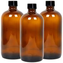 Youngever 3 Pack Empty Glass Bottles with Lids, Amber Glass Growlers 16 Ounce with Tight Seal Lids, Perfect for Secondary Fermentation, Storing Kombucha, Kefir, Glass Beer Growler (16 Ounce)