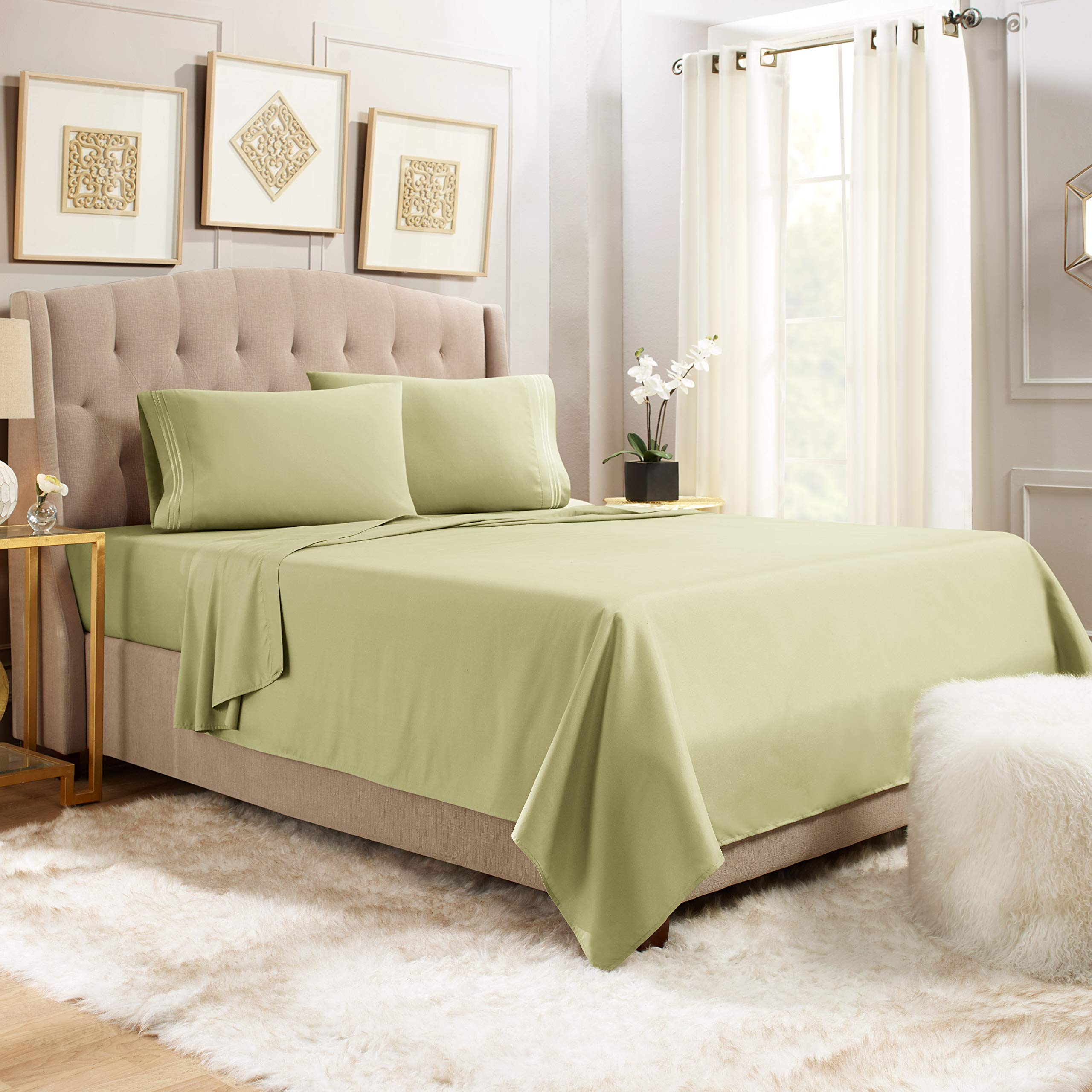 """Empyrean Bedding 14"""" - 16"""" Deep Pocket Fitted Sheet 4 Piece Set - Hotel Luxury Soft Double Brushed Microfiber Top Sheet - Wrinkle Free Fitted Bed Sheet, Flat Sheet and 2 Pillow Cases - Queen, Sage"""