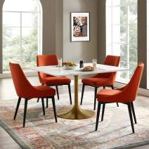 """Modway Lippa 47"""" Mid-Century Modern Dining Table with Square Top in Gold White"""