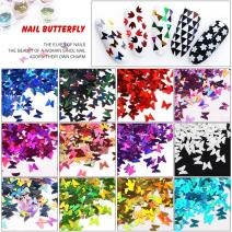 MEILINDS 3D Glitter Sequins Nail Art Tips Charms Butterfly Design Manicure Nail Decoration 12 Colors