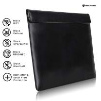 Silent Pocket Waterproof Nylon Faraday Bag, Signal Blocking Device Sleeve for 13 inch and 15 inch Laptops and Tablets - Instant Protection (15 inch, Black Leather)