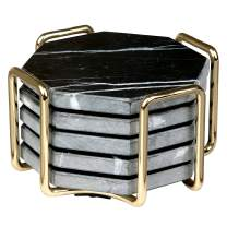 Black Marble Coasters with Gold Holder- Set of 5 - Great Father's Day Gift