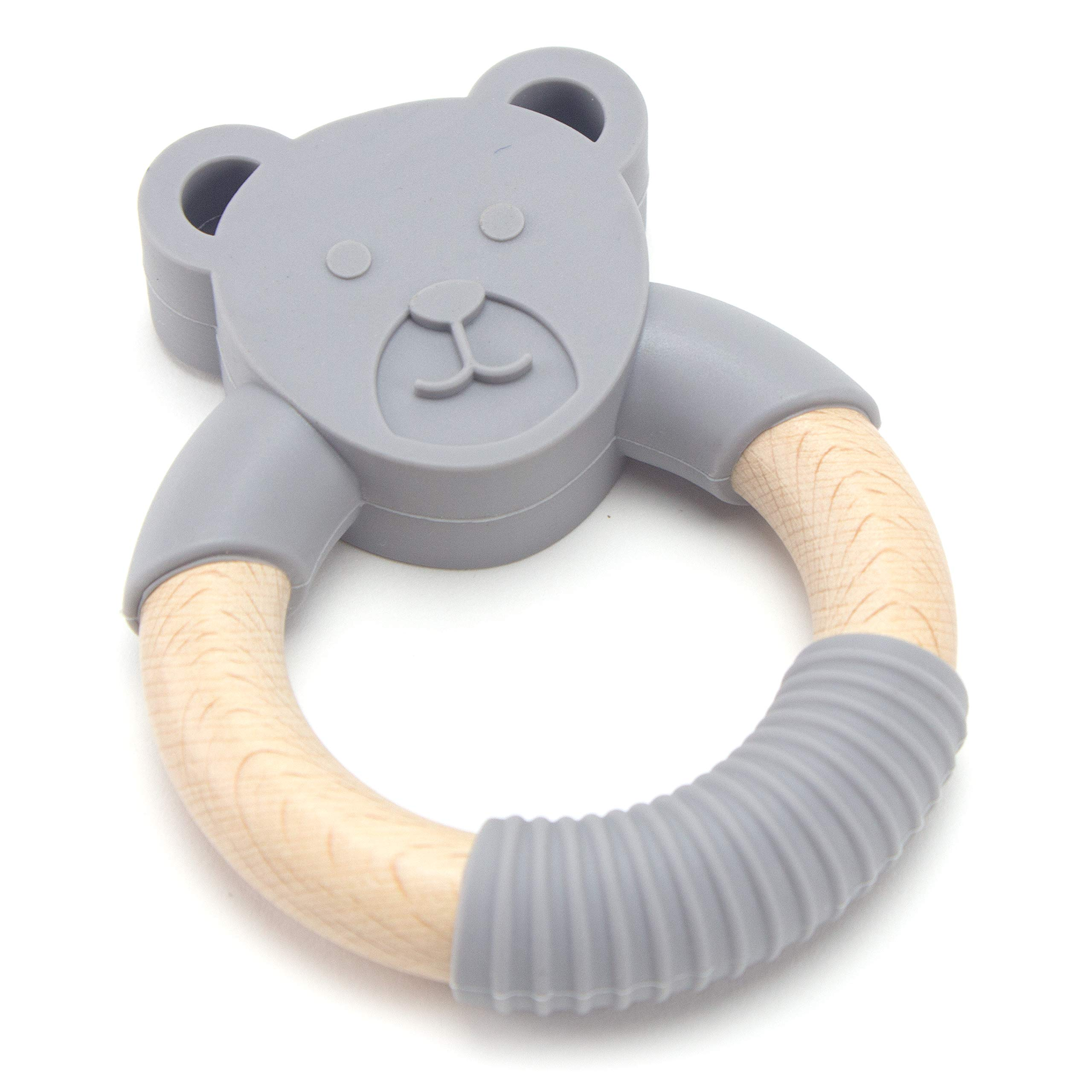 Organic Animal Natural Wood and Silicone Baby Teether Chew Toy Ring (Grey)